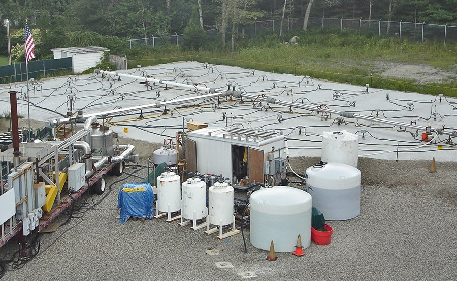 Overhead view of the thermal treatment zone with associated groundwater extraction system.