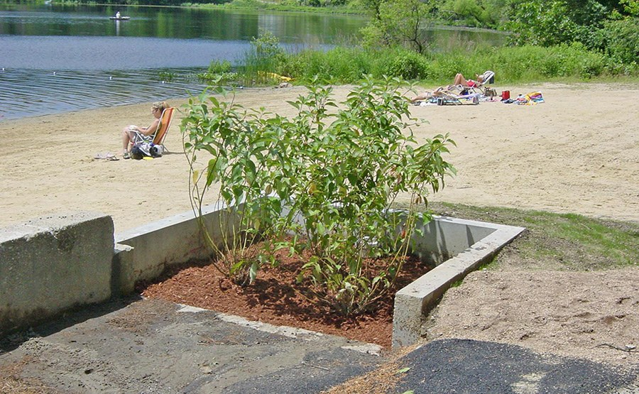 Littleton residents return to the Long Pond town beach with the water quality and aesthetic improvements resulting from Geosyntec's low impact stormwater management technology applications.