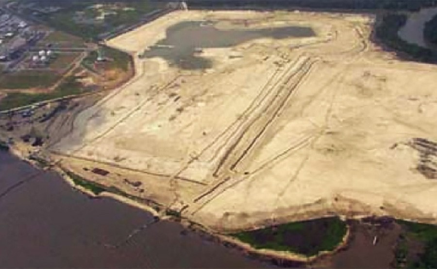 Aerial view of plant site during ground improvement phase.