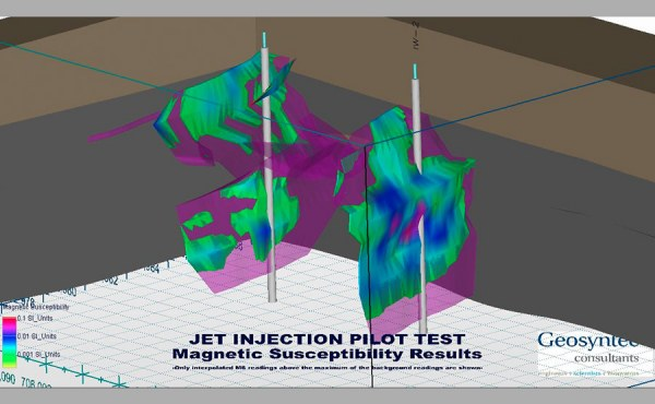 Geosyntec designed and implemented a pilot test of jet injection of mZVI and nZVI for the remediation of chlorinated solvents diffused into dense clay soil.