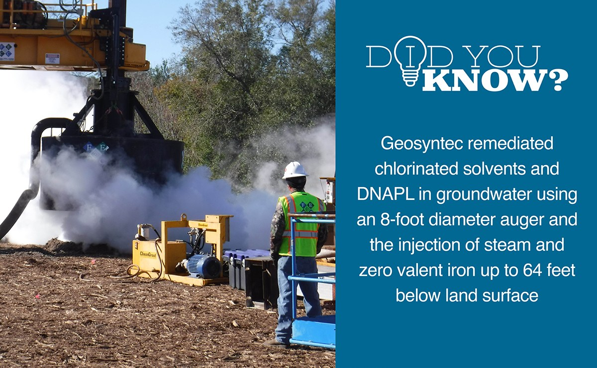 Geosyntec remediated chlorinated solvents and DNAPL in groundwater using an 8-foot diameter auger and the injection of steam and zero valent iron up to 64 feet below land surface