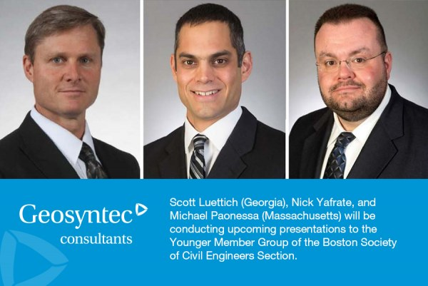 Geosyntec to Present at the Younger Member Group of the Boston Society of Civil Engineers Section