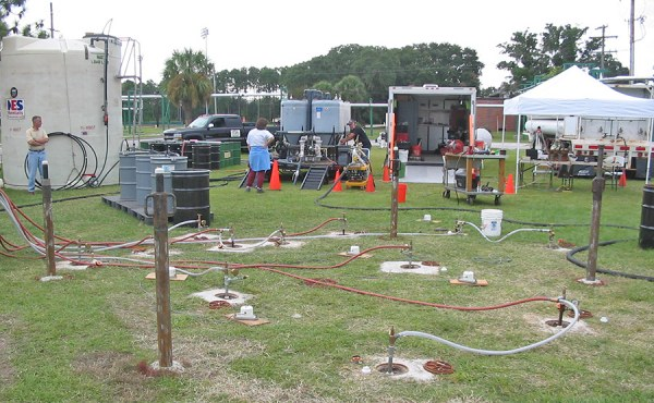 Geosyntec conducted the first field evaluation of emulsified zero valent iron for TCE source zone remediation at NASA's LC-34 site.