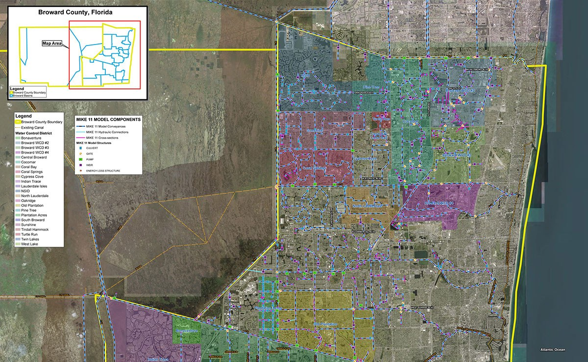 Water Elevation Map.Future 100 Year Flood Elevation Map Project For Broward County Florida