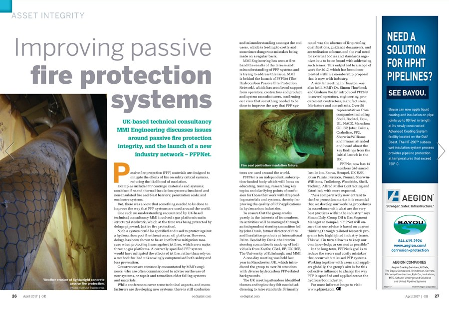 Improving Passive Fire Protection Systems Article Published