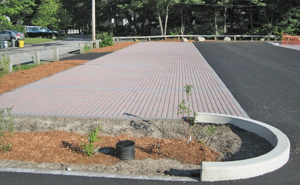 Geosyntec designed and implemented several LID techniques at Silver Lake, such as porous pavers and this newly planted bioswale.