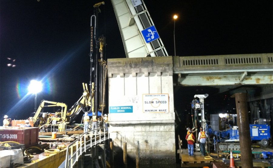 Flagler Memorial Bridge Micropile Underpinning of Bascule Piers