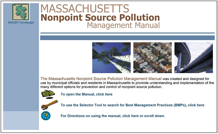 The Geosyntec-designed website replaced a 4-inch binder with a content-rich, searchable resource for Massachusetts agencies, developers, and stakeholders involved in stormwater management.