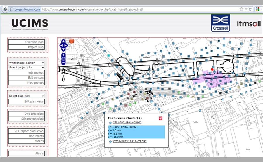 The underground construction monitoring network with station outlines and real time data updates of one of the Crossrail stations.