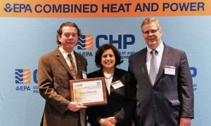 L-R: Joe Collins, Director, Energy Resources for UMass Medical School; Neeharika Naik-Dhungel, CHP Partnership Program Manager for U.S. EPA; Tom Flynn, Executive Director of Sales and Marketing for Green Harbor Energy
